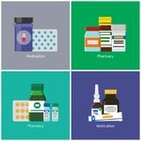 Medication and Pharmacy Set Vector Illustration. Medication and pharmacy posters with headlines set, tubes glass bottles, medical products containers, pills royalty free illustration