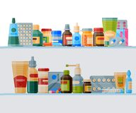 Medication on shelf banner vector illustration. Medicine, pharmacy store, hospital set of drugs with labels. Pharmaceutics concept. Medical pills and bottles vector illustration