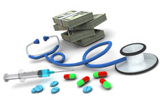 Medication and Stack of Money Royalty Free Stock Images