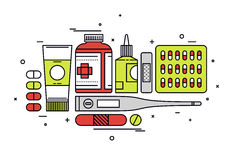 Medication supplies line style illustration. Thin line flat design of medication supplies, aspirin and painkiller pills, medical tools, healthcare equipment for Royalty Free Stock Images