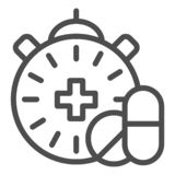 Medication time line icon. Pills and clock vector illustration isolated on white. Pharmacy time outline style design. Designed for web and app. Eps 10 royalty free illustration