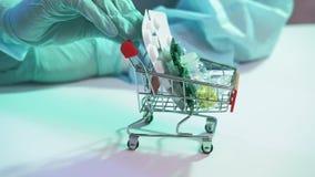 Medication trade hands gloves shopping tray drugs