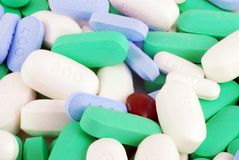 Medication & Vitamins. Large combination of medications and vitamins Royalty Free Stock Photos