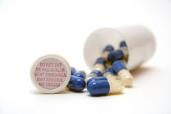 Medications. Photo of Pills and Bottle Royalty Free Stock Images