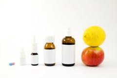 Medications and fruits Royalty Free Stock Photos