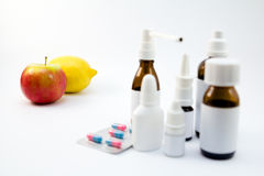 Medications and fruits Stock Photo