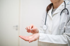Medications in the hands. Of doctor Stock Photo