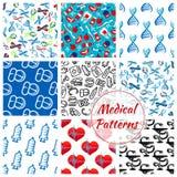 Medications, medical vector seamless patterns set Royalty Free Stock Images