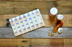 Medications, pillbox and bottles with coins spilling out. Royalty Free Stock Image