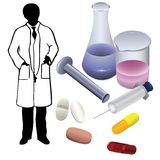 Medications and the silhouette of a physician. Stock Photos