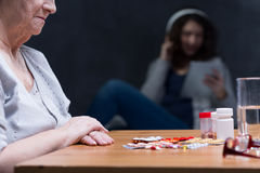 Medications on table Royalty Free Stock Image
