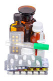 Medications for the treatment of tablets and syrups Stock Photos