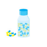 Medications. The vial with capsules. Blue Yellow capsule. Bottle of medicine. Royalty Free Stock Photography