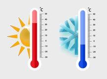 Medición cent3igrada de los termómetros de la meteorología calor y frío, ejemplo del vector Demostración del equipo del termómetr ilustración del vector