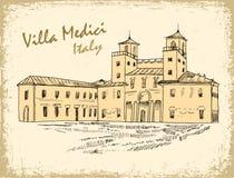 意大利地标别墅Medici墨水剪影 免版税库存照片