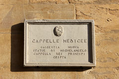 Medici Chapels (Cappelle medicee), street plate in Florence Royalty Free Stock Photos