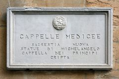 Medici Chapels in Florence - Italy. Information board at the entrance to the Medici Chapels in Florence - Italy Stock Photo