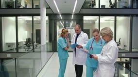 Medici che discutono sopra la perizia medica in corridoio stock footage