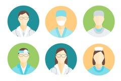 Medici e personale medico nell'insieme del cerchio Vettore illustrazione di stock