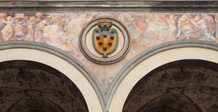 Medici Emblem - Florence. An high relief with the emblem of Medici Family in Palazzo Vecchio in Florence, Italy royalty free stock photography