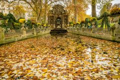 Medici fountain in autumn covered with leaves stock images