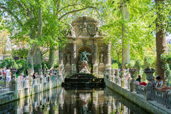 The Medici Fountain in the Luxembourg garden, Paris. Paris, France - August 14, 2016: The Medici Fountain was built in 1630 by Marie de Medici. It was designed royalty free stock photos