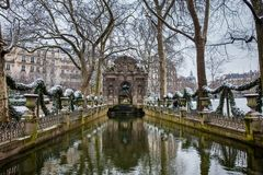 Medici Fountain at the Luxembourg Palace garden in a freezing winter day day just before spring stock image