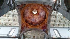 Medici kapell i Florence - inre detaljer för tak och för kupol royaltyfria foton