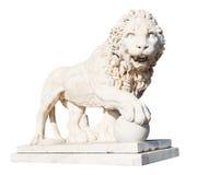 Medici lejon med stenbollen som isoleras på vit arkivfoto