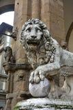 Medici Lion holds the globe in Piazza della Signoria stock image