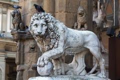 Medici Lionat the Loggia dei Lanzi, Florence Royalty Free Stock Photos