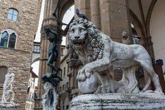 Medici Lionat the Loggia dei Lanzi, Florence Royalty Free Stock Photo
