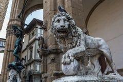 Medici Lionat the Loggia dei Lanzi, Florence Stock Images