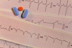 Medicijnen in de vorm van tabletten voor mondeling gebruik op een elektrocardiogramachtergrond stock foto
