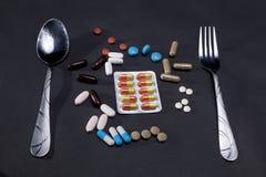 Medicijnen en tablettenconceptenidee stock foto