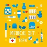 Medicin apotek, sjukhusuppsättning av royaltyfri illustrationer