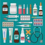 Medicin apotek, sjukhusuppsättning av droger med etiketter Royaltyfri Foto