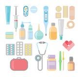 Medicin apotek, sjukhusuppsättning av droger med etiketter stock illustrationer