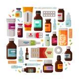 Medicin apotekbegrepp Drog läkarbehandlinguppsättning av symboler också vektor för coreldrawillustration stock illustrationer