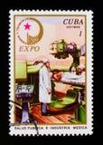 Medicin EXPO 76 - tekniska vetenskaper av USSR-serien, circa 1971 arkivfoto