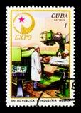 Medicin EXPO` 76 - tekniska vetenskaper av USSR-serien, circa 1976 royaltyfria bilder