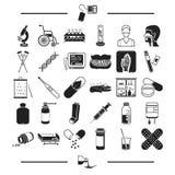 Medicin, förhindrande, apotek och annan rengöringsduksymbol i svart stylesyrup, utrustning, behandling, symboler i uppsättningsam stock illustrationer