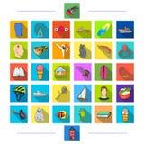 Medicin, hyena, textiler och annan rengöringsduksymbol i plan stil matlagning affär, sport, symboler i uppsättningsamling stock illustrationer
