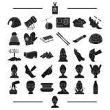 Medicin, hygien, attribut och annan rengöringsduksymbol i svart stil turism underhållning, cosmetology, symboler i uppsättning vektor illustrationer