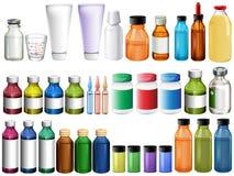 Medicin i flaskor och rör royaltyfri illustrationer