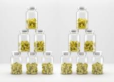 Medicin kan med preventivpillerar på vit bakgrund illustration 3d Fotografering för Bildbyråer