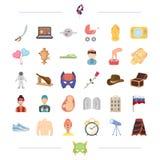 Medicin, loppet och annan rengöringsduksymbol i tecknad film utformar ferie yrkesymboler i uppsättningsamling stock illustrationer
