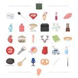 Medicin, mat, utbildning och annan rengöringsduksymbol i tecknad film utformar att bry sig, bearbeta och att tända symboler i upp stock illustrationer