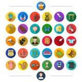 Medicin, natur, underhållning och annan rengöringsduksymbol i plan stil , sport, affär, fiske, symboler i uppsättningsamling vektor illustrationer