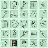 Medicin- och hälsovektorsymboler royaltyfri illustrationer